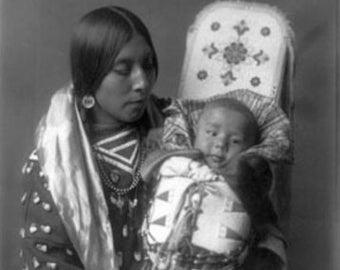 Mother and child Apsaroke Indian Edward Curtis Photograph (Art Prints available in multiple sizes)