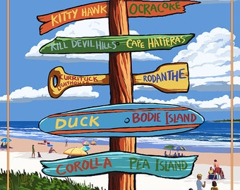 Wrightsville Beach, North Carolina - Destination Signpost (Art Prints available in multiple sizes)