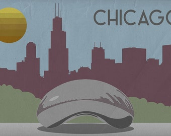 Chicago, Illinois - Skyline (Art Prints available in multiple sizes)