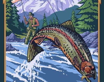 Troutdale, Oregon - Fisherman (Art Prints available in multiple sizes)