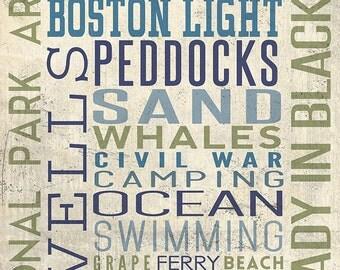 Boston Harbor Islands, Massachusetts - Typography (Art Prints available in multiple sizes)