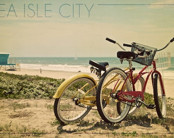 Sea Isle City, New Jersey - Bicycles and Beach Scene (Art Prints available in multiple sizes)