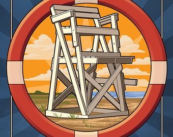 Sea Isle City, New Jersey - Lifeguard Chair (Art Prints available in multiple sizes)