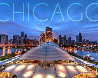 Chicago, Illinois - Navy Pier and Skyline (Art Prints available in multiple sizes)