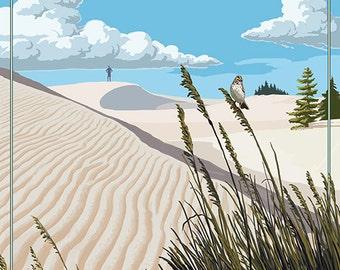Grover Beach, California - Sand Dunes Day Scene (Art Prints available in multiple sizes)