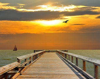 Pier at Sunset (Art Prints available in multiple sizes)