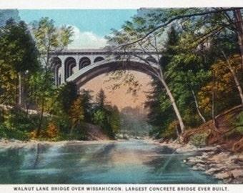 Philadelphia, Pennsylvania - Walnut Lane Bridge over Wissahickon River (Art Prints available in multiple sizes)