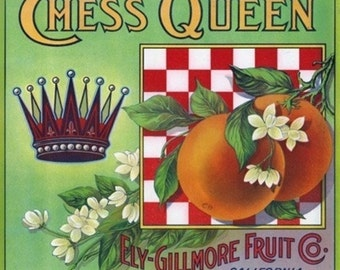 Los Angeles, California - Chess Queen Brand Citrus Label (Art Prints available in multiple sizes)