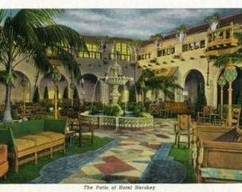 Hershey, Pennsylvania - View of the Hotel Hershey Patio (Art Prints available in multiple sizes)