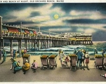 Old Orchard Beach, Maine - View of the Pier and Beach at Night (Art Prints available in multiple sizes)