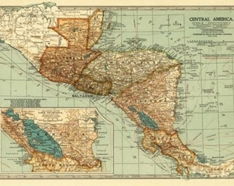 Central America - Panoramic Map (Art Prints available in multiple sizes)
