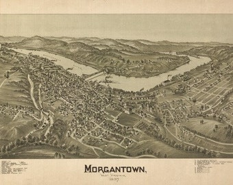 Morgantown, West Virginia - Panoramic Map (Art Prints available in multiple sizes)