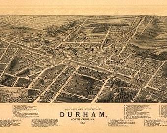 Durham, North Carolina - Panoramic Map (Art Prints available in multiple sizes)