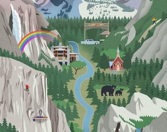 Yosemite National Park, California - Retro Views (Art Prints available in multiple sizes)