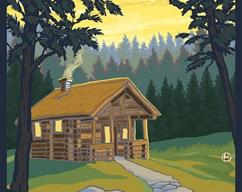 Couer D'Alene, Idaho - Cabin in Woods (Art Prints available in multiple sizes)