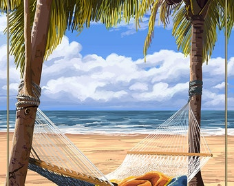 Hammock Scene - Hawaii (Art Prints available in multiple sizes)