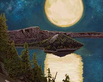 Crater Lake National Park, Oregon - Lake and Full Moon (Art Prints available in multiple sizes)