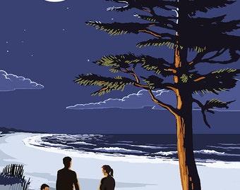 New Buffalo, Michigan - Bonfire at Night Scene (Art Prints available in multiple sizes)