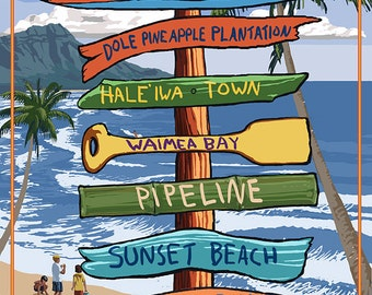 North Shore, Oahu, Hawaii - Sign Destinations (Art Prints available in multiple sizes)