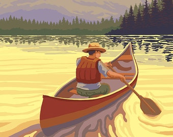 Lake Winnipesaukee, New Hampshire - Canoe Sunset (Art Prints available in multiple sizes)