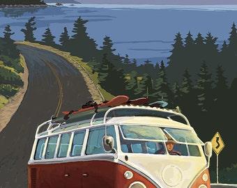 Lake Tahoe, California - VW Coastal Drive (Art Prints available in multiple sizes)