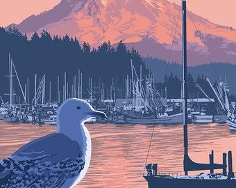 Gig Harbor, Washington at Sunset (Art Prints available in multiple sizes)