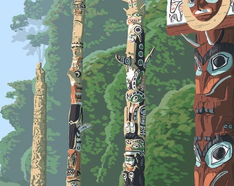 Whistler, BC, Canada - Totem Poles (Art Prints available in multiple sizes)