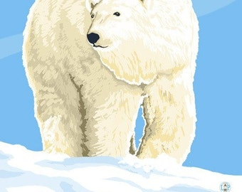 Polar Bear Solo - Visit the Zoo (Art Prints available in multiple sizes)