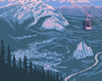 Banff, Alberta, Canada - View of Banff Gondola (Art Prints available in multiple sizes)