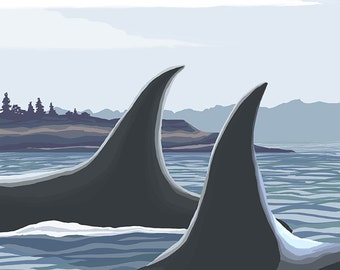 Orca Whales #1 - Friday Harbor, Washington (Art Prints available in multiple sizes)