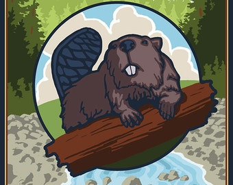 Beaver and River - Salem, Oregon (Art Prints available in multiple sizes)