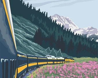 Alaska Railroad Scene - Fairbanks, Alaska (Art Prints available in multiple sizes)