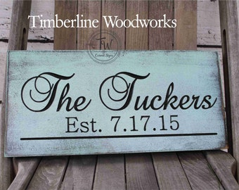 Personalized family name sign wedding gift Rustic last name sign Last Name Sign Wall Sign Carved Engraved Mother's day Wedding gift