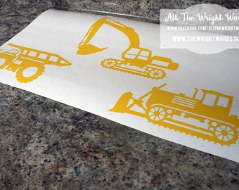 Construction Vehicle Wall Decals - Safe For Walls - Removable - Room Decor - Nursery Decor - 20 Colors To Choose From!