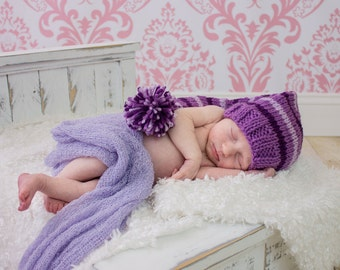 Newborn Photo Prop, Newborn Purple Elf Hat, Baby Pixie Hat, Knit Newborn Hat, Newborn Girl Knit Hat, Photography Prop, Stocking Hat