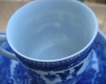 Blue and White Demitase, Blue Willow cup and saucer, made in Japan