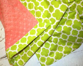 Personalized Minky Baby Blanket - Toddler Minky Blanket - Lime Green Quatrefoil  Baby - Monogrammed Minky Blanket -