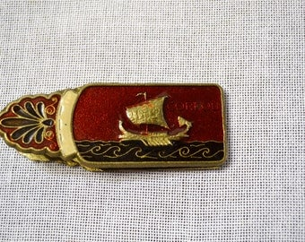 Vintage Enamel Paper Clip Brass Corfou and Achilles Vintage Office Decor Collectible PanchosPorch