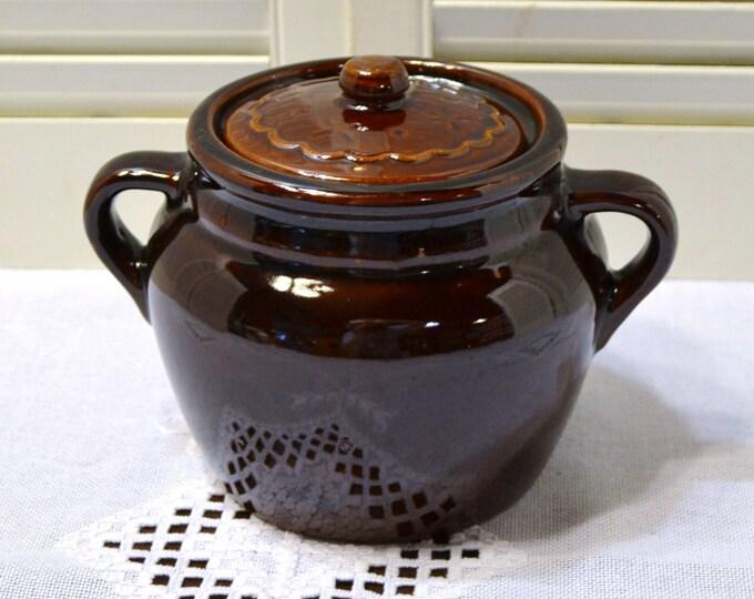 Vintage Bean Pot USA Marcrest Pottery Brown Glaze Crock PanchosPorch