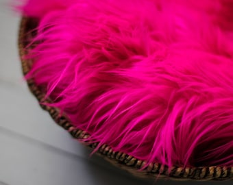 SALE - Hot Pink , Cozy, Cuddly Faux Fur - Perfect Newborn Photography Prop - Plush Long Pile, Stuffer, Filler, Layering, Bean Bag Cover