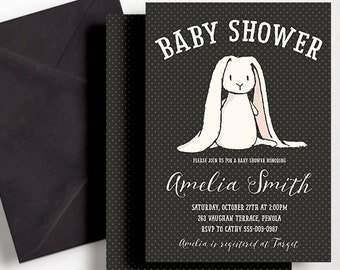Black and White Rabbit Baby Shower Invitation Black White Gender Neutral Print Yourself Bunny Script Modern Balloons Modern Spot Printable