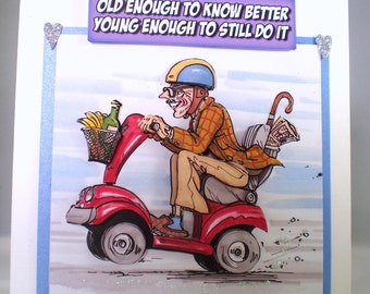 Handmade Humorous Birthday Card,Grandad on mobility scooter,3D