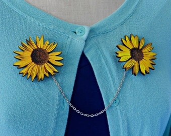 Sunflower Sweater Guard Brooch//Pin Up//Shabby Chic//Spring//Floral//Summer//Rustic//Flower Jewelry