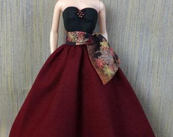 One-of-a-Kind Black & Burgundy Gown for Barbie FR Dolls