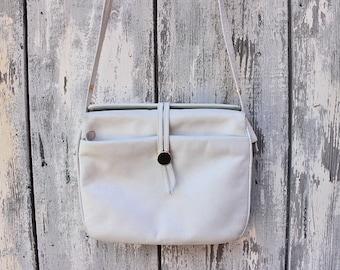 Vintage shoulder bag handbag creamwhite white leather 70s