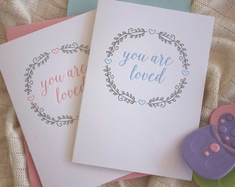 You are loved - Letterpress baby card