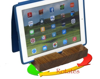 iPad Stand with Rotating Swivel Base Made from Black Walnut