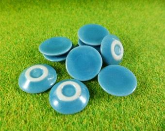 Blue Plates Dollhouse Miniatures Ceramic, Handcrafted, Deco,1:12,Thailand