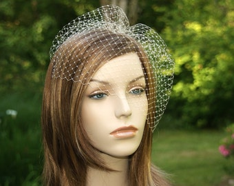 Ivory Birdcage Veil, Ready to Ship, Bridal Bird Cage, Wedding Hairpiece, French Netting Blusher, White, Blush, Champagne, Pink Many Colors