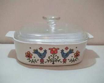 1975 Corning Country Festival 2 qt casserole with lid